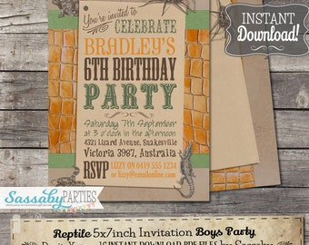 Reptile Invitation - INSTANT DOWNLOAD - Editable & Printable Boys Birthday Party Invitation by Sassaby Parties
