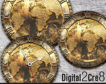 World map clock etsy world map antique large clock face 12 and 8 digital downloads diy printable image iron on transfer wall decor crafts jpgpdf gumiabroncs Images