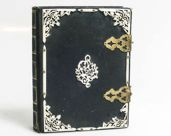 Beautiful Vintage CDV/Tintype Photo Album//Intricate White Accents 1860s