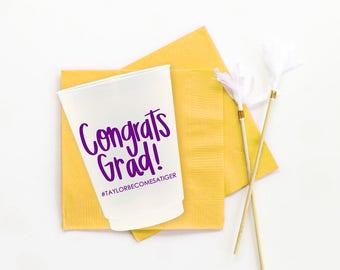 Personalized Graduation Cups Custom Printed Cups Class of 2018 Graduation Party Supplies Congrats Grad Stadium Cup Graduation Decorations