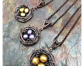 Custom Length and Color Choice Bird Nest, Freshwater Pearls, Golden, or Green