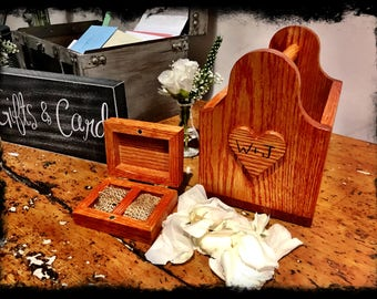 Rustic wooden flower girl basket with ring bearer box