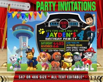 Paw Patrol Invitation Birthday Party Personalized Printable NR064