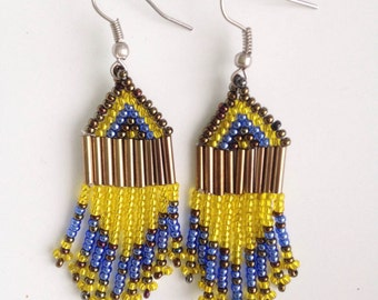 MADE in AFRICA beaded bohemian earrings// yellow & blue