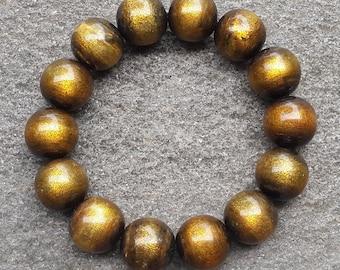 16 MM Genuine Indonesia Golden Sea Willow Bracelet 14 Beads Black Coral