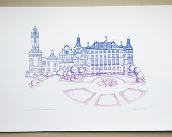 Sheffield Town Hall Screen Print of line drawing in two tone, gradated blue and pink. Contemporary, quirky, illustration wall art.
