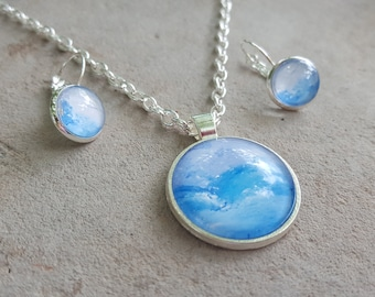 Blue and Lavendar Cloudy Sky Necklace and Earrings Set