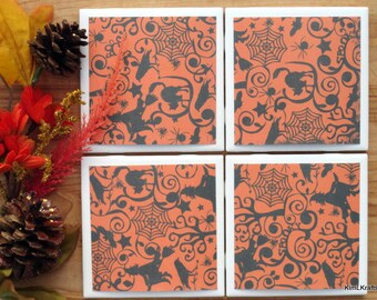 Coasters - Drink Coasters - Tile Coasters - Ceramic Coasters - Ceramic Tile Coasters - Coaster Set - Table Coasters - Black and Orange