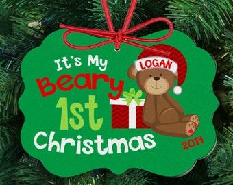 Baby's beary first Christmas ornament - 1st Christmas ornament teddy bear BFCBO