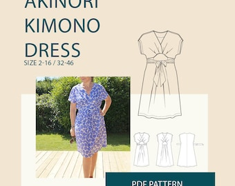 Kimono wrap dress PDF sewing pattern| Wrap dress PDF sewing pattern for women| womens jersey knit dress pdf pattern| sewing pattern