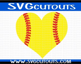 Heart Shaped Softball Design, SVG DXF EPS Formats, Files for Cutting Machines Cameo or Cricut, Softball Heart Cutting File
