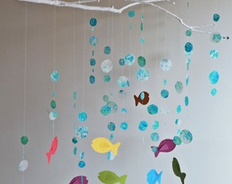 Fish Mobile - Nursery Mobile, Baby Mobile, Ocean Mobile, Colorful Mobile, Home Decor