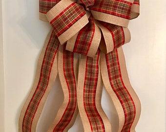 Extra Large Burlap and Red Bow, Extra Large Christmas Bow,Extra Large Christmas Tree Topper Bow, Christmas Decor,  Extra Large Wreath Bow