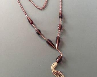 Art Deco Flapper Necklace Pendant Drop with Facet Glass Seeds