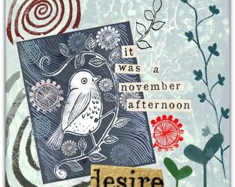 Hand-cut 'Mon Petit Oiseau' card 15cm x 15cm with envelope.