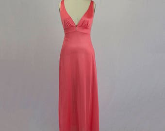 Vintage 1970s Nightgown Full Length Bombshell Electric Pink Glamorous