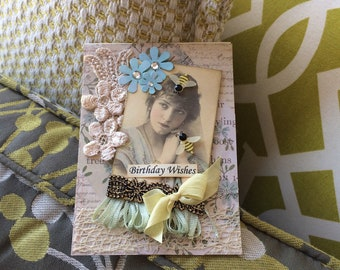 Victorian Birthday Card - Pastel-colored Birthday Card - Vintage-style Birthday
