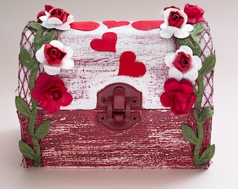 Hand-decorated wooden box with red roses and hearts for jewelry or for a gift
