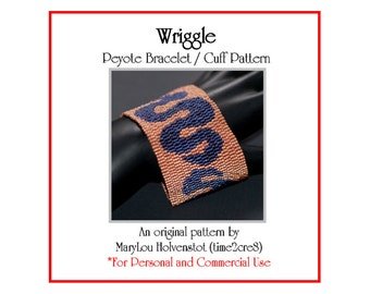 Peyote Bracelet Pattern ... WRIGGLE ... Snake Design . Modern . Retro . Wavy . Wide Cuff . Jewelry Pattern . Curvy . 3 for 2