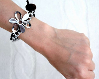 Braided Silver Chain Bracelet with Silver Flower