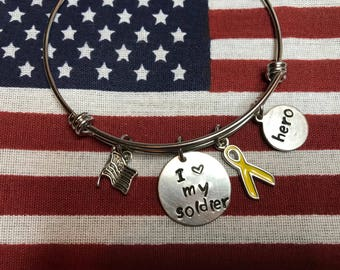 I love my soldier military appreciation bangle bracelet