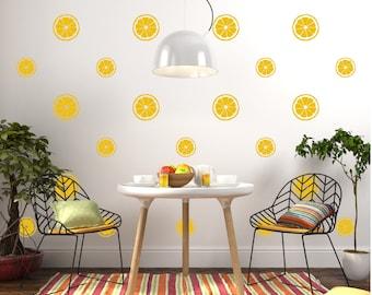 Lemon Citrus Wall Decal Pattern