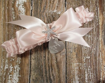 Personalized Blush Beach Wedding Garter with a Rhinestone Starfish and Engraving