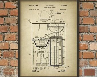 Coffee Machine Patent Poster - Coffee Making Print - Coffee Machine Design - Coffee Kitchen Appliance - Kitchen Decor - Kitchen Wall Art