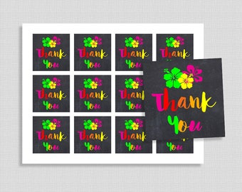 Tropical Favor Tags, Pineapple Thank You Party Favor Tags, Hawaiian Baby Shower, Luau, INSTANT PRINTABLE