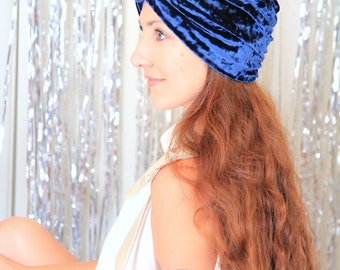 Turban Hat in Navy Blue Crushed Velvet - Fashion Hair Wrap - Lots of Colors