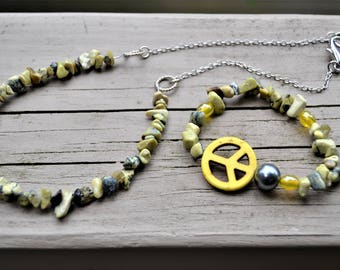 YELLOW PEACE SIGN Necklace Bracelet Set Yellow Turquoise Peace Bracelet Hippie Jewelry