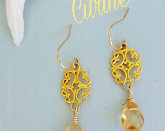 Citrine Earrings, Vermeil Earrings, Gold Filigree, Drop Earrings, Jen Jen Jewelry, Martha's Vineyard, Boho Chic, Gold Earrings, Mexico
