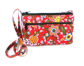 Sassy Cross Body Hipster with Adjustable Strap Vivid Red Floral