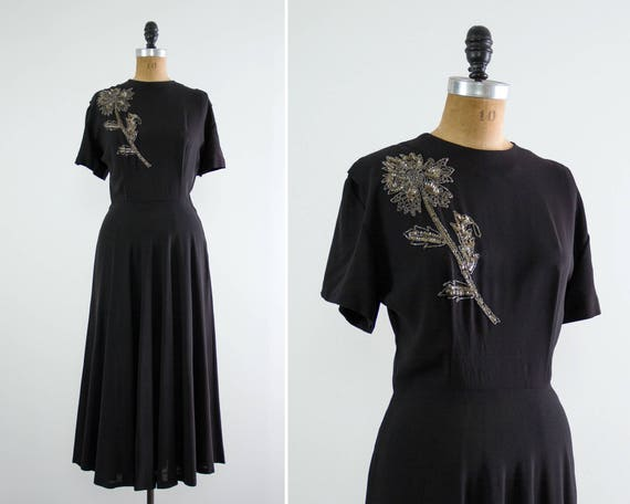 vintage 1940s rayon dress | 40s black dress | 1940s dress medium | 40s rayon crepe dress