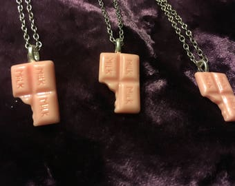 Pink milk chocolate necklace