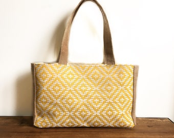 Tote / basket braided yellow and burlap