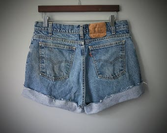 Vintage Levi's Shorts High Waisted Levis Cut Off Jeans Waist Denim Cutoffs Distressed Zip Fly Orange Tab Size Large XL 14 16 18 Made in USA