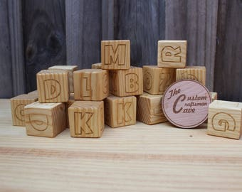 Pine Block set. 44mm with Alphabet Engraving. Sets of 8 Blocks