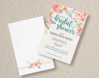 Blush Feather Bridal Shower Invite