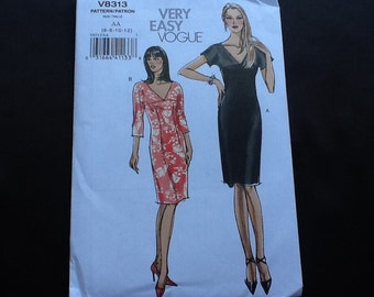 Vogue pattern 8313. Uncut very easy misses' dress with front and back V neckline. Short or three quarter sleeves, knee length. Sizes 6-12.