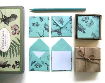 Flora and Fauna Mini Stationery Set - Mint Green, Cute Small Envelopes, Square, Thank You Blank Note Cards, Folded, Greetings, Gift Under 15