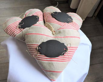 SET of 3 canvas hearts A mattress French (handmade) + 1 free