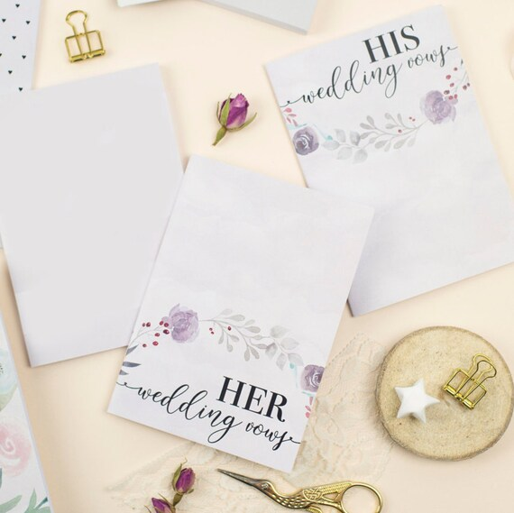 His and Hers Wedding Vows Notebook / Set of 2 / Write Your Own
