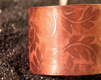 Leafy Goodness - Etched Copper Cuff Bracelet