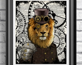 Steampunk Art Print, Steampunk Lion Art Book Page Wall Art Wall Decor Poster, Dandy top hat Lion