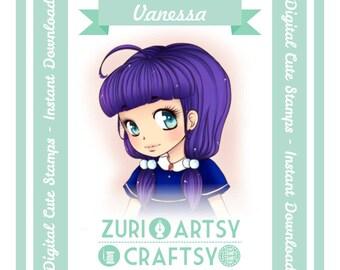 Digital Stamp,Vanessa, Scrapbooking Digital Stamp, Instant Download, Zuri Artsy Craftsy, Digi Stamp, Cardmaking, coloring page
