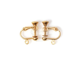 ERG-135-MG/10pcs/ Non Pierced Screw Back Clips Earring Findings/14mm x 16mm/Plated Over Brass