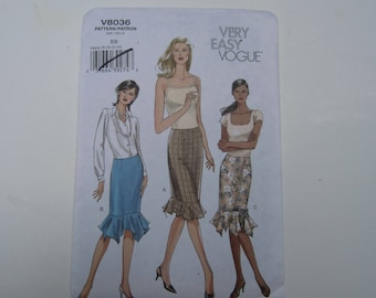 Vogue 8036 Very Easy Misses'/Misses' Petite Fitted Straight Skirt With Flounce Uncut Pattern Sizes 8-10-12-14, Vogue 8036 uncut pattern