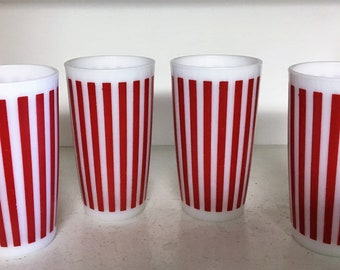 Set of 4 Vintage HAZEL ATLAS Red Candy Stripe Tumblers White Milk Glass EXCELLENT Condition Drinking Glasses Mid Century