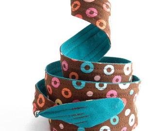 Wired Headband, Women's Headband, Twist Tie Headband, Brown with Circles Headband
